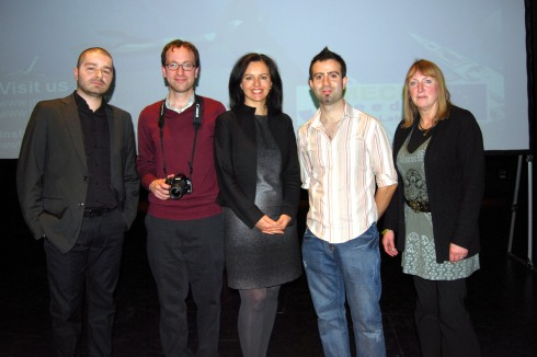 Eurominister Caroline Flint with JMECE Lab members Stergios Mavrikis, Francisco Seoane Pérez, Fabro Steibel and Professor Juliet Lodge