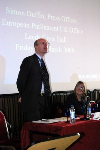"Simon Duffin, Press Officer of the UK Office of the European Parliament talking about ""The European Parliament in perspective"""