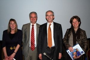 "ICS Prof Juliet Lodge, Dr Richard Corbett, MEP Labour, Diana Wallis, MEP Liberal Democrat and Mark Green, Honorary German Consul at the Conference ""You and the future of democracy in the EU"""